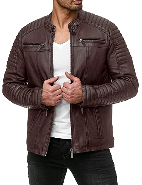 COOFANDY Mens Classic Pu Leather Motorcycle Jacket Biker Jacket Zipper Coat