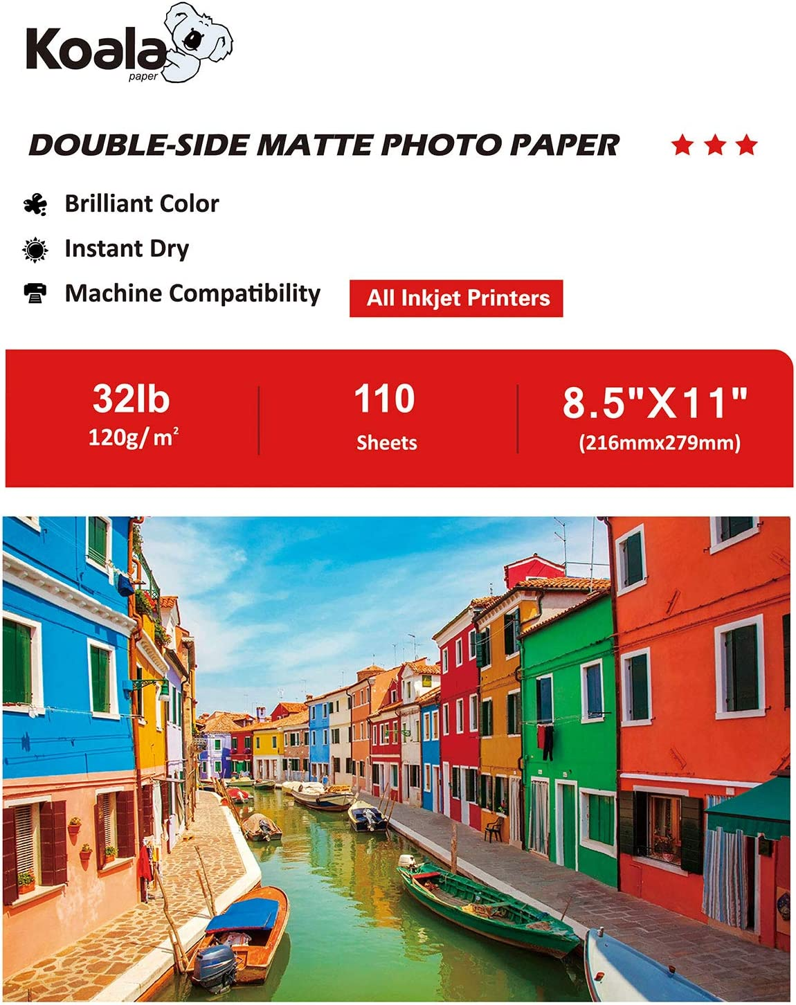 Koala Presentation Paper Double-Sided Matte for Printing Photo 8.5X11 Inches 110 Sheets Compatible with Inkjet Printer