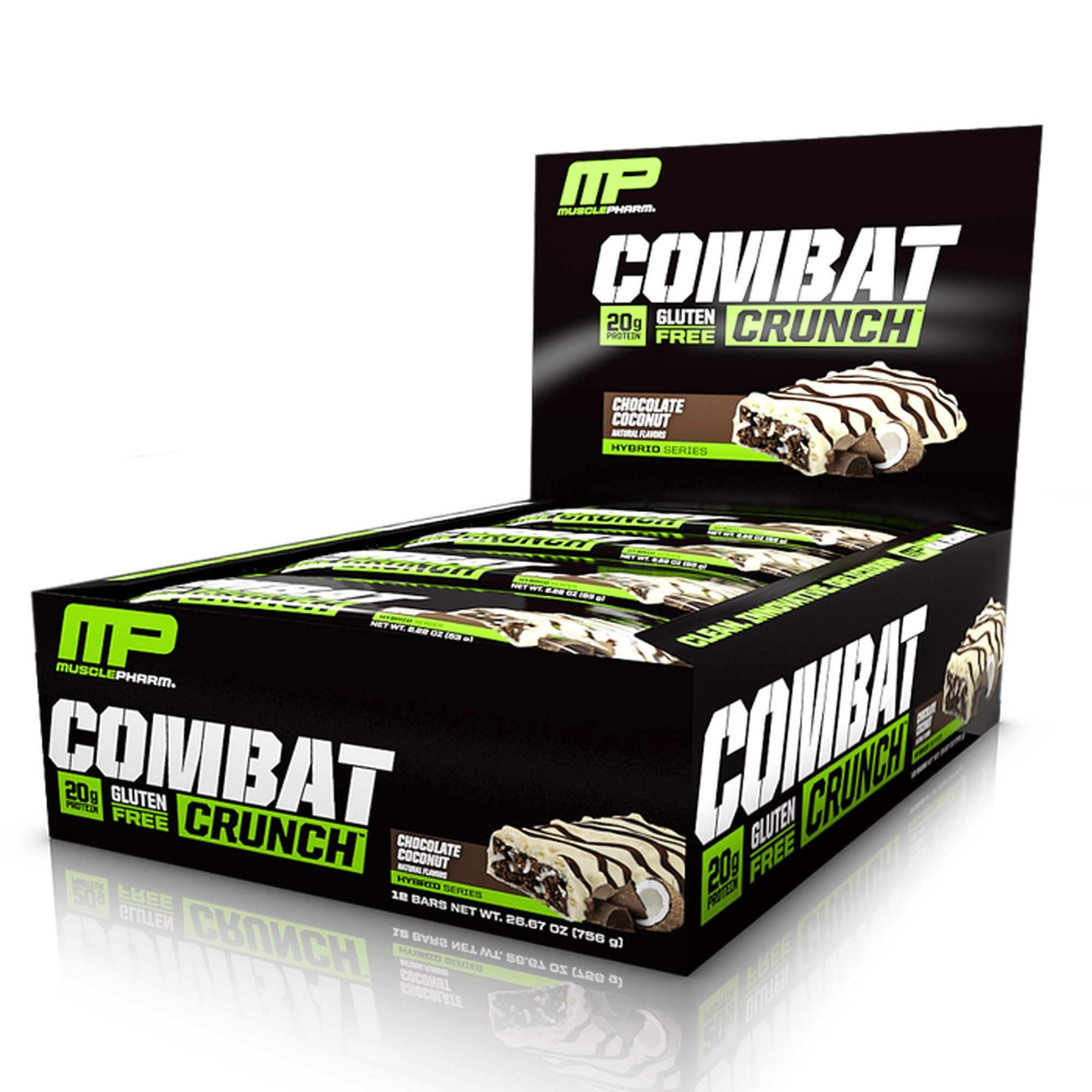MusclePharm Combat Crunch Protein Bar, Multi-Layered Baked Bar, Gluten-Free Bars, 20 g Protein, Low-Sugar, Low-Carb, Gluten-Free, Chocolate Coconut Bars, 12 Count by Muscle Pharm