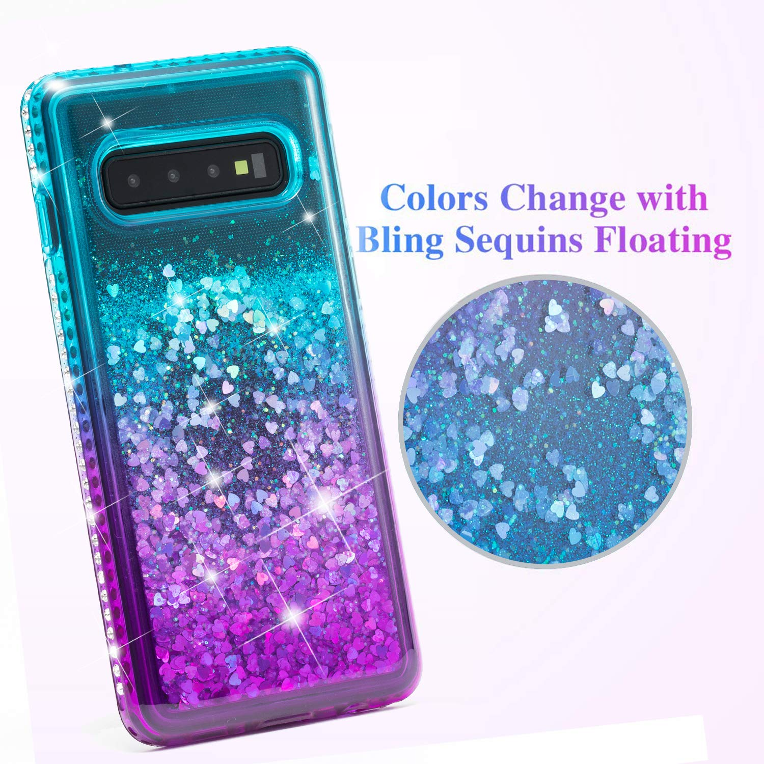 Galaxy S10 Plus Case, Luxury Floating Glitter Case Sparkle Bling Quicksand Liquid Cover Clear TPU Bumper Cushion Reinforced Corners Girls Women Cute Case for Samsung Galaxy S10 Plus, Green Purple