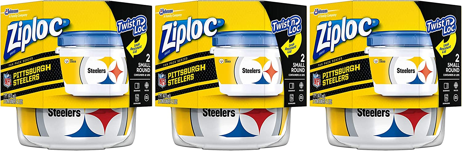 Ziploc Brand NFL Pittsburgh Steelers Twist 'n Loc Containers, Small, 2 ct, 3 Pack