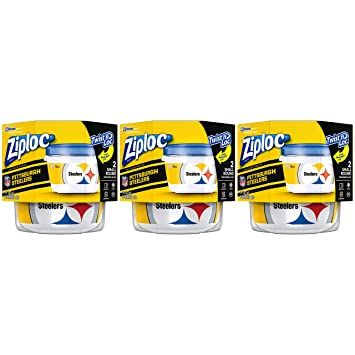 abb2eee7 Ziploc Brand NFL Pittsburgh Steelers Twist 'n Loc Containers, Small, 2 ct,  3 Pack