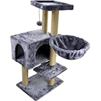 "WIKI 02C 35.43"" Tall Cat Tree with Scratching Toy Ball Cat Tower Jute-Covered Scratching Posts, Grey"