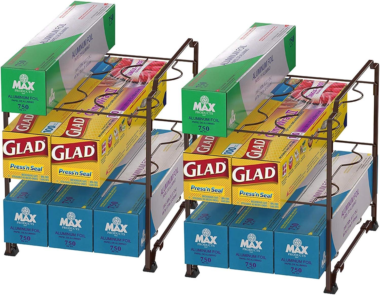 NEX Kitchen Wrap Organizer Rack - 2 PACK Stackable