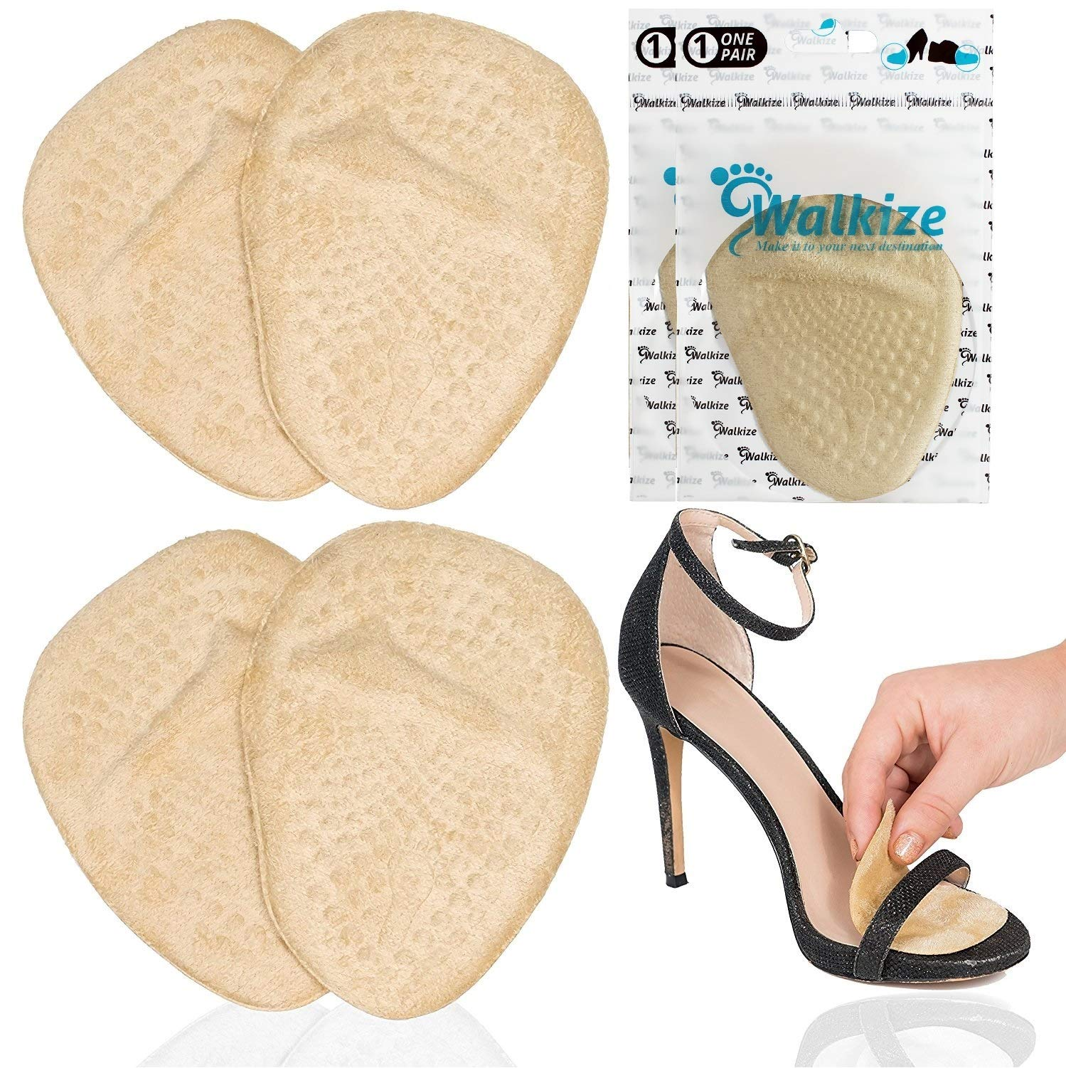 Metatarsal Pads | Metatarsal Pads for Women | Ball of Foot Cushions (2 Pairs Foot Pads) All Day Pain Relief and Comfort One Size Fits Shoe Inserts for Women by Walkize