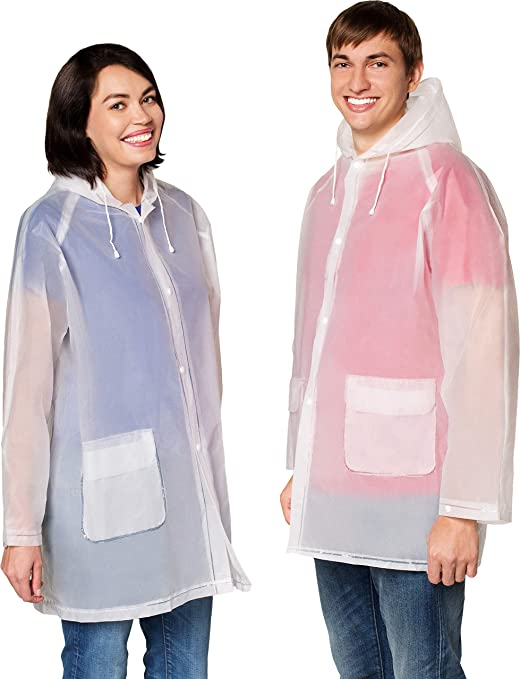Man and woman wearing rain ponchos