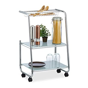 Relaxdays Rollwagen Metall mit 2 Glasablagen, Gitterkorb, schmaler ...