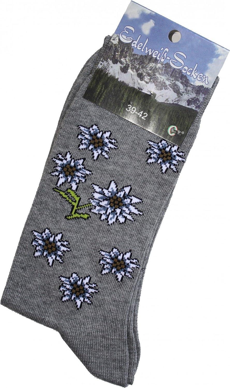 Trachtensocken Edelweiß-Socken Blütenmuster grau