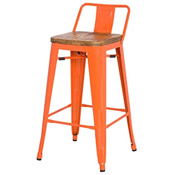 Surprising New Pacific Direct Metropolis Metal Low Back Counter Stool 26 Wood Seat Indoor Outdoor Ready Orange Set Of 4 Theyellowbook Wood Chair Design Ideas Theyellowbookinfo