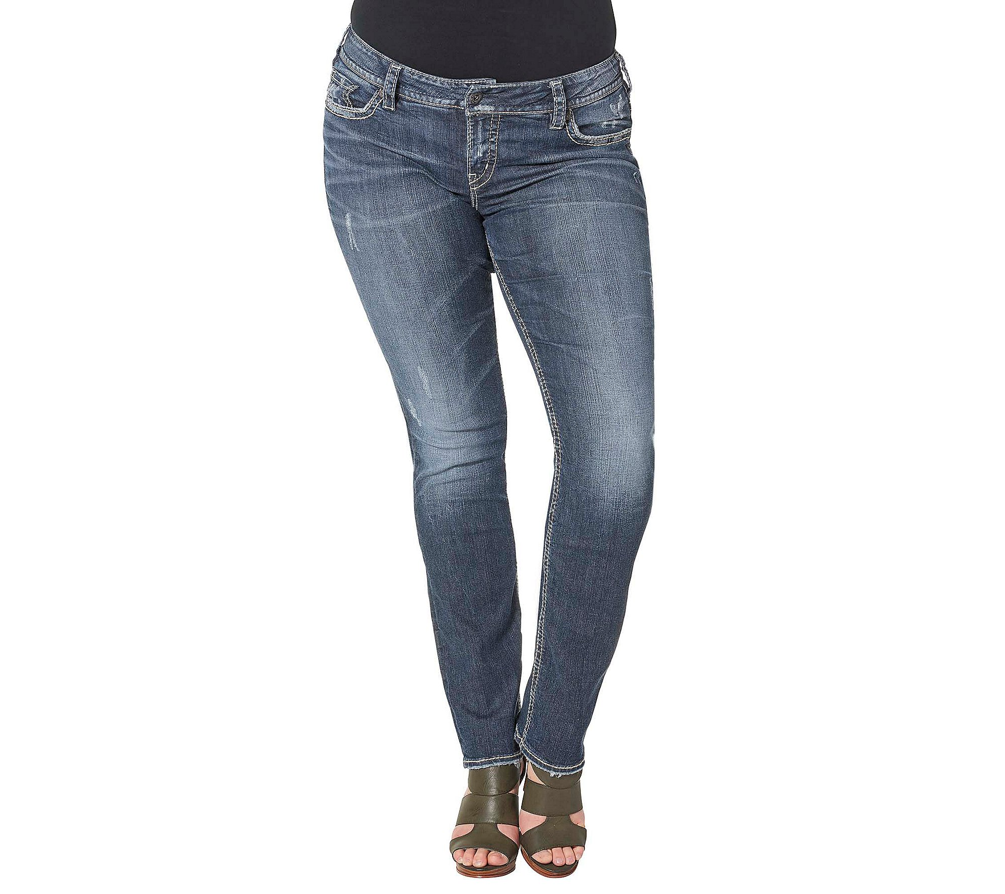Silver Jeans Co. Women's Plus Size Suki Curvy Fit Mid Rise Straight Leg Jeans, Vintage Dark Wash with Lurex Stitch, 14x30