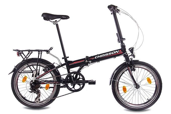 Bicicleta plegable de aleación de 20pulgadas de lujo City Bike CHRISSON foldrider 1.0con 7velocidades Shimano Unisex Negro: Amazon.es: Deportes y aire libre