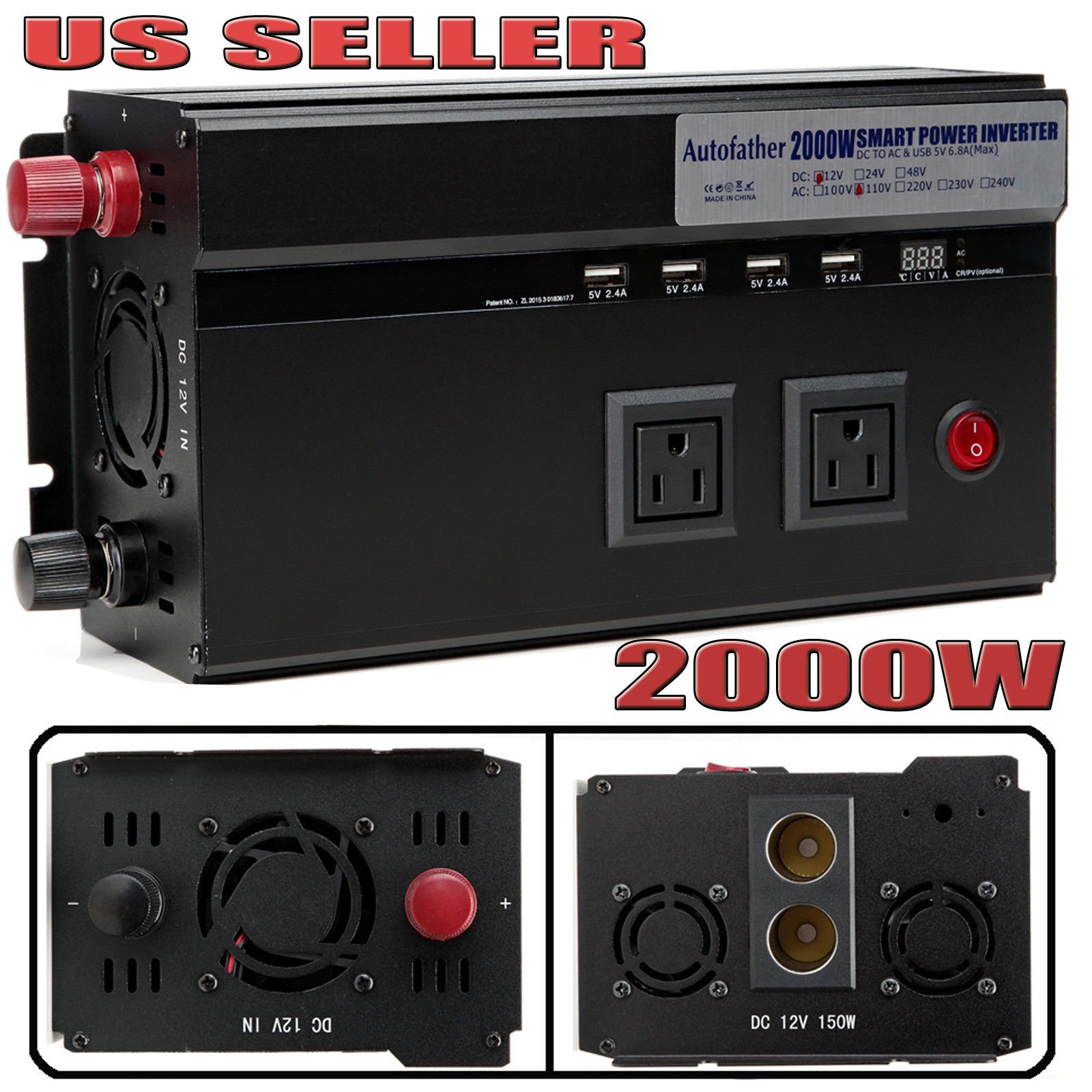 Autofather 2000W Car Power Inverter DC 12V TO AC 110V Charger Converter 2 Cigarette Lighter Sockets + 4 USB Charging Ports + 2 US Standard Outlets For Travel Phone/Computer/Laptop/Hairdryer/Camera