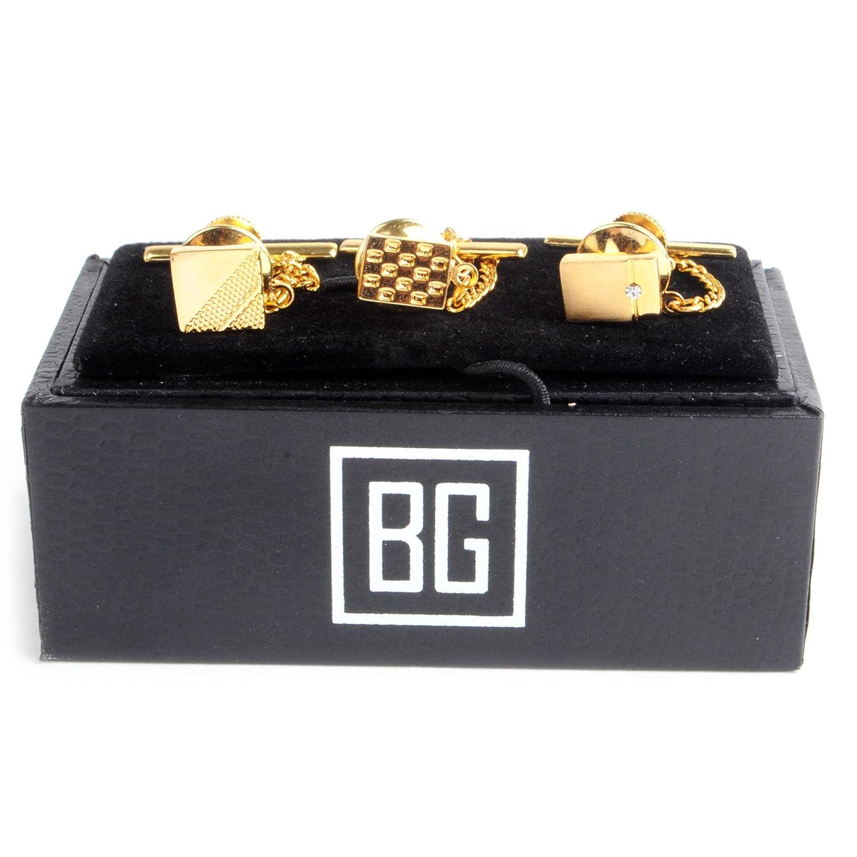 3 Pack BG Golden Tone Square /& Rectangle Tie Tack Set