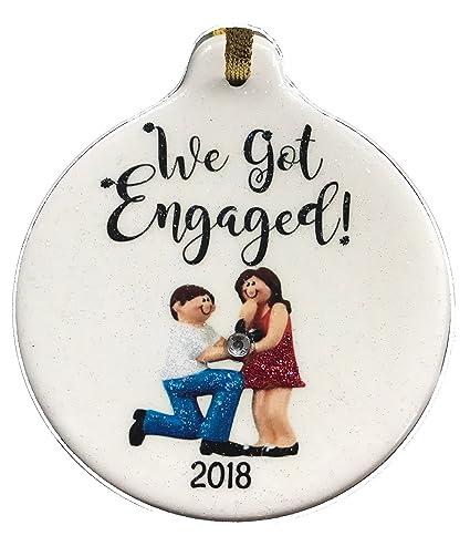 amazon com we got engaged 2018 dated porcelain ornament proposal