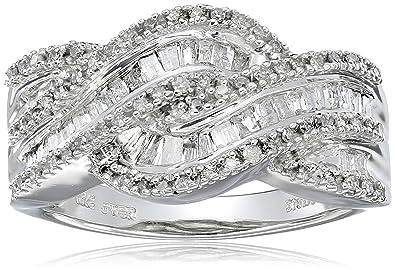 3e066fd86 Amazon.com: 10k White Gold and Diamond Twist Ring (1/2 cttw, I-J Color, I3  Clarity): Jewelry