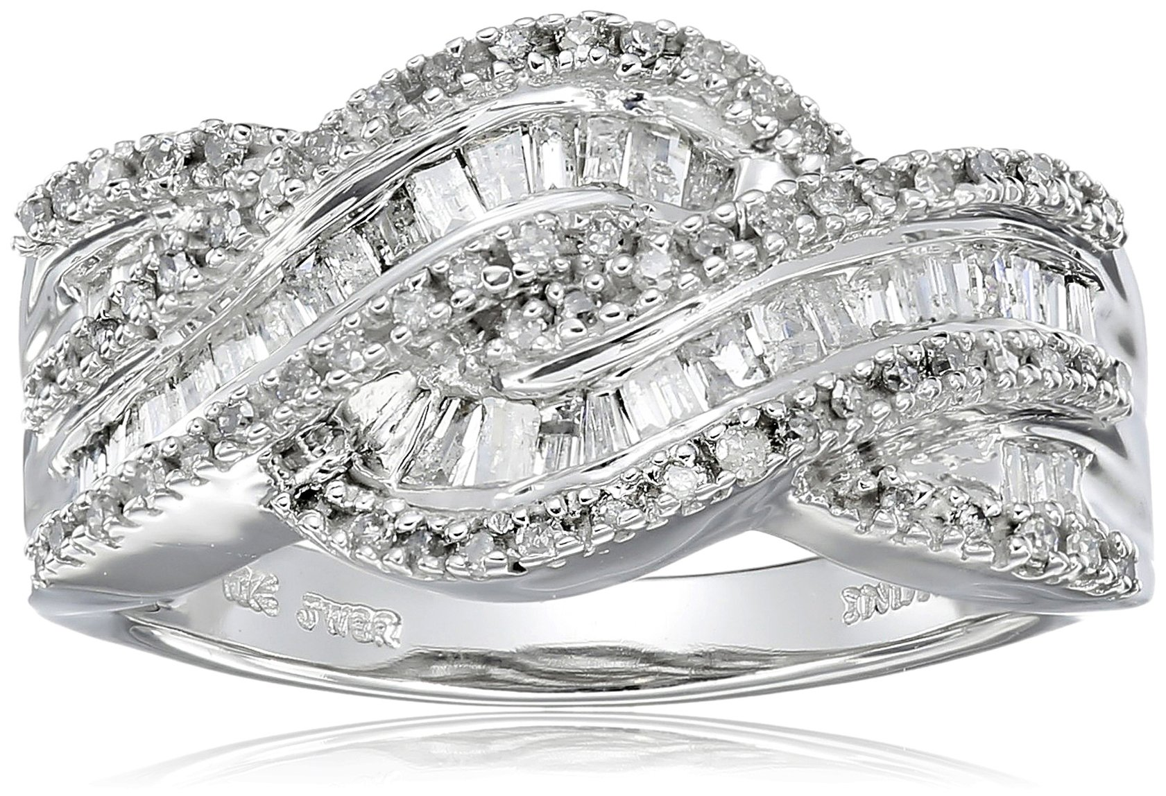 10K White Gold Diamond Twist Band Ring (1/2 cttw), Size 7