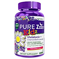 ZzzQuil Pure Zzzs Kidz Melatonin Sleep Aid Gummies, 72 ct, Lavender and Chamomile...