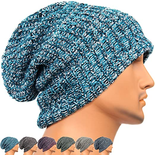 REDSHARKS Unisex Adult Winter Warm Slouch Beanie Long Baggy Skull Cap  Stretchy Knit Hat Oversized Blue 1fc33e179f4a