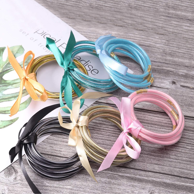 Ckysee All Weather Bracelets Glitter Jelly Bracelets Set Lightweight Cute Bracelets Best Gifts For Women Girls/…