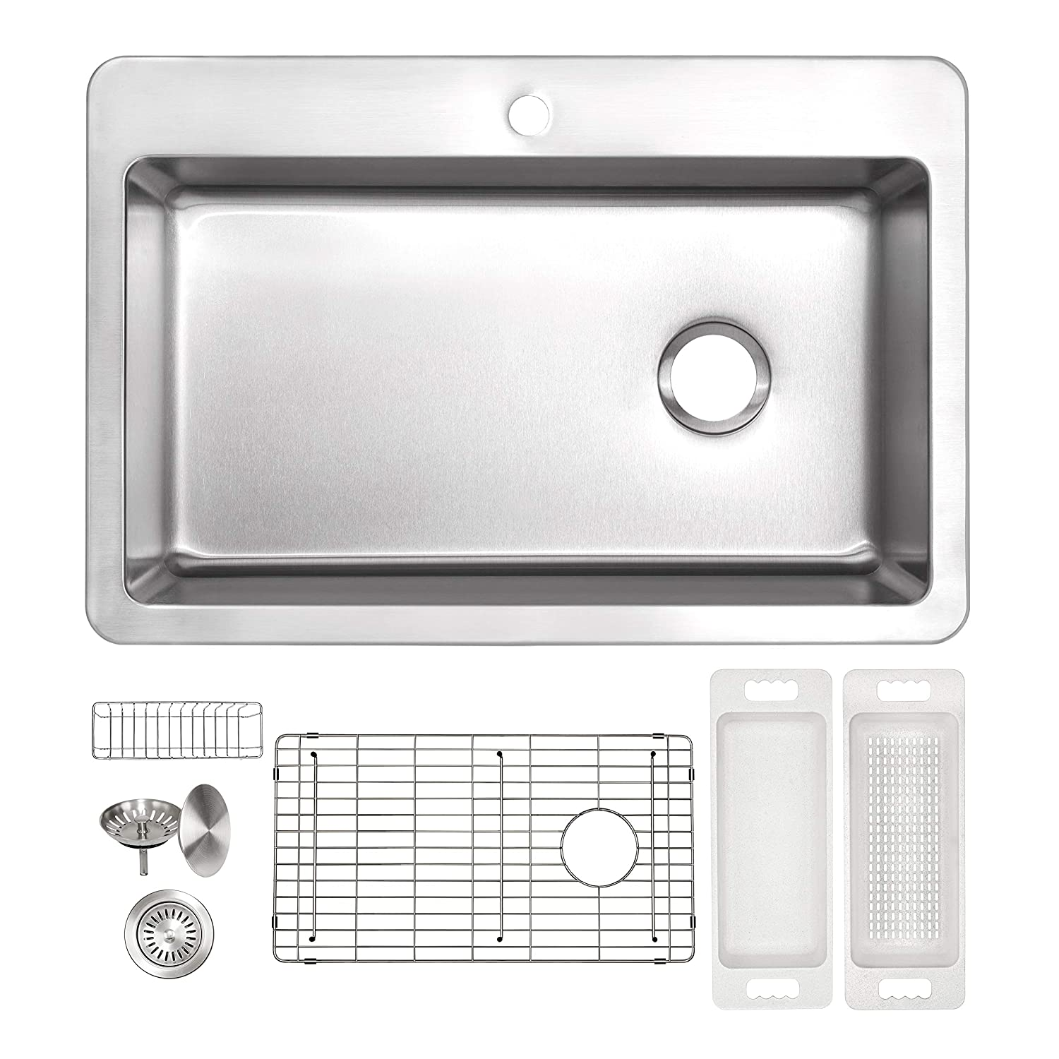 ZUHNE 16G Drop In Offset Drain Stainless Steel Kitchen Sink 33 x 22 Inch Single Over Mount