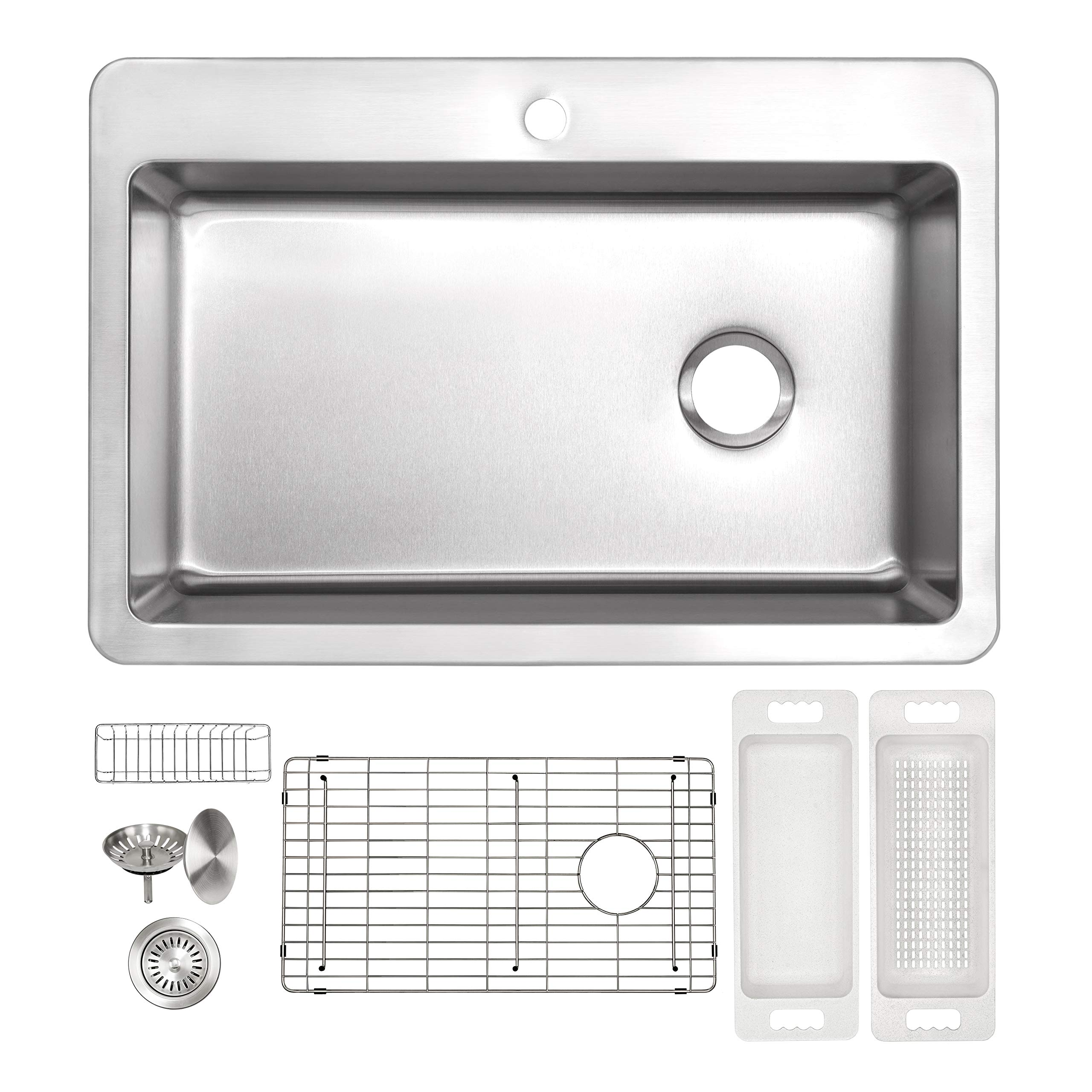ZUHNE 16G Drop In Offset Drain Stainless Steel Kitchen Sink (33 x 22 Inch Single Over Mount) by Zuhne