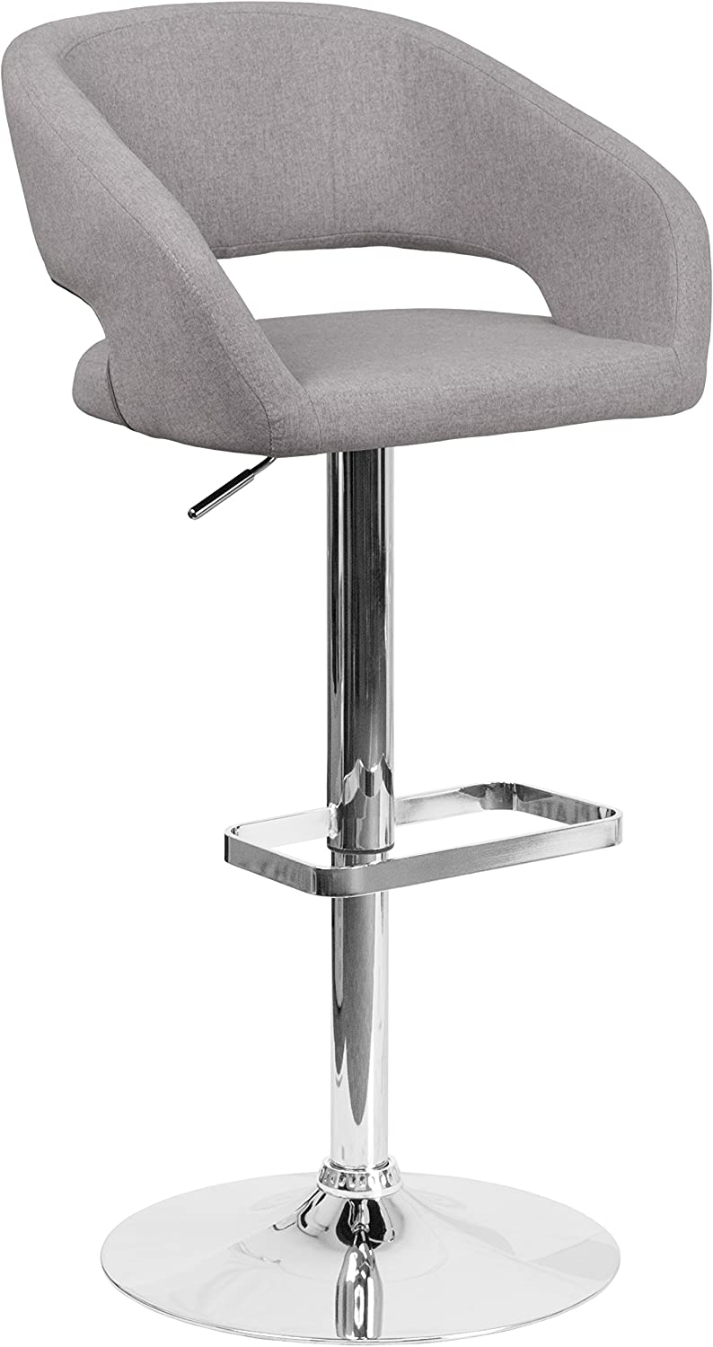 Flash Furniture Contemporary Gray Fabric Adjustable Height Barstool with Rounded Mid-Back and Chrome Base –