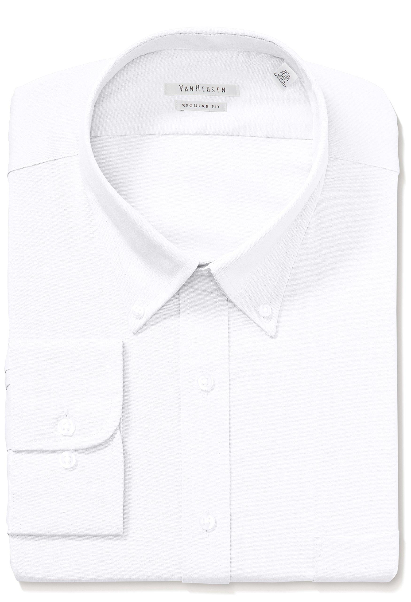 Van Heusen Men's Pinpoint Regular Fit Solid Button Down Collar Dress Shirt, White, 16.5'' Neck 34''-35'' Sleeve by Van Heusen