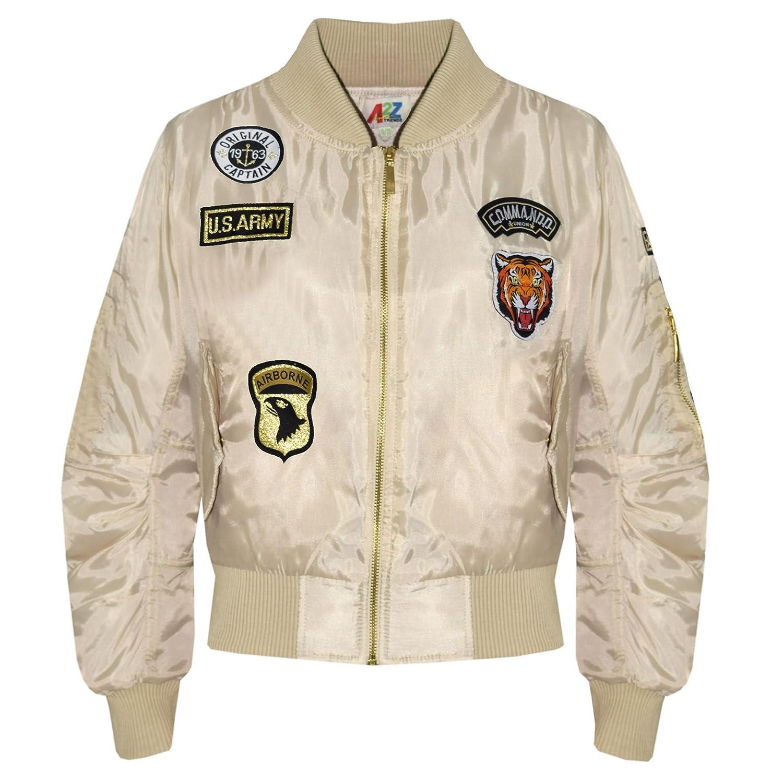9053f0853 A2Z 4 Kids® Kids Jacket Girls Boys Badges Print Bomber Padded Zip Up Biker  Jacktes MA 1 Coat Age 3 4 5 6 7 8 9 10 11 12 13 Years
