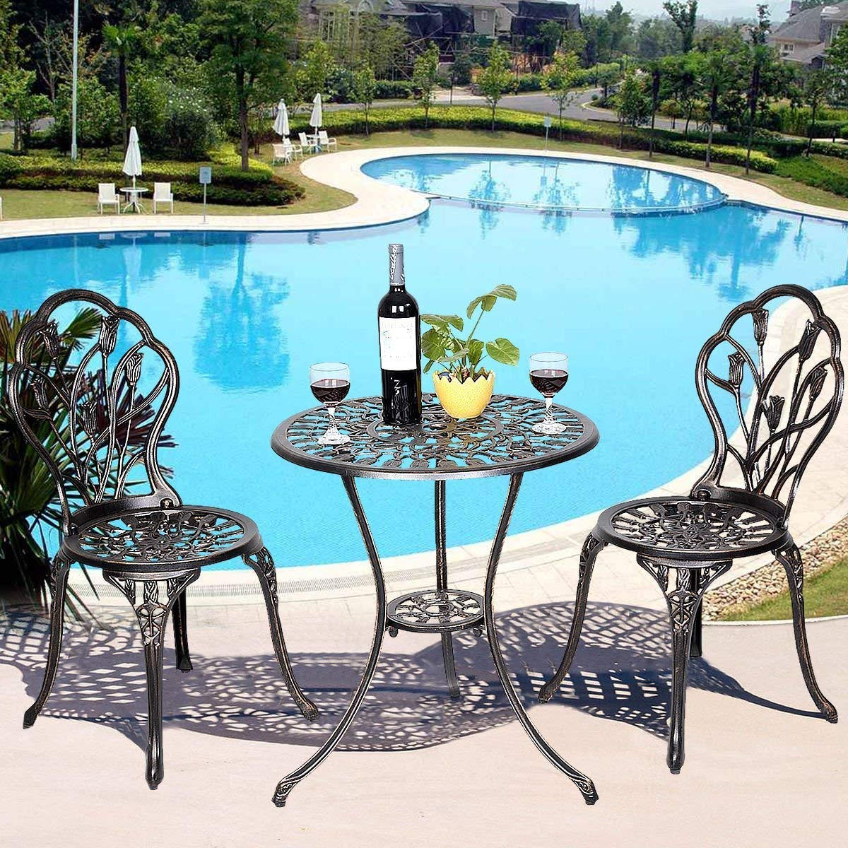 Casart 3 Pcs Bistro Set Cast Tulip Design Antique Outdoor Patio Furniture Weather Resistant Garden Round Table and Chairs Set w Umbrella Hole Tulip Design