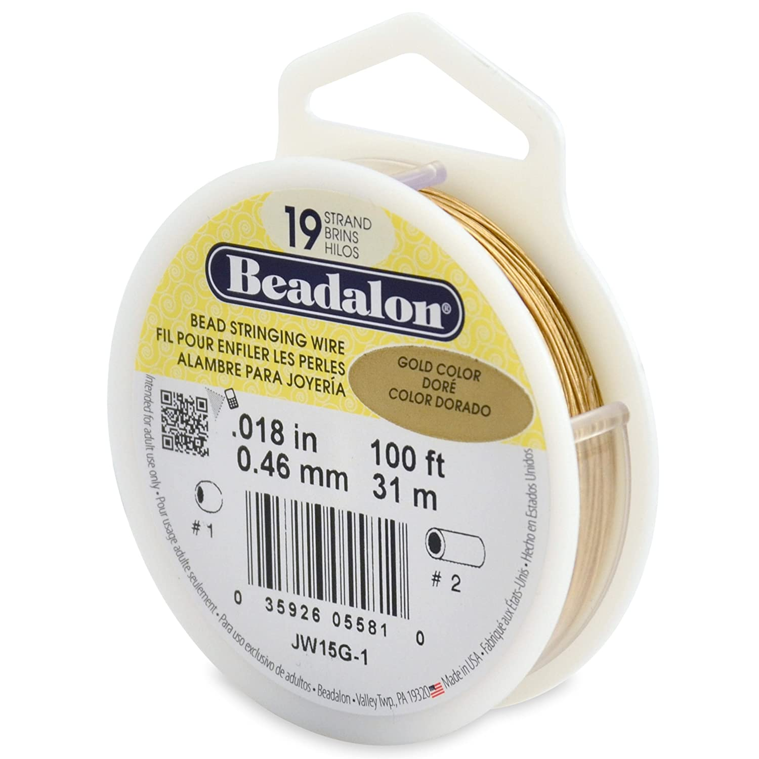 Beadalon 19-Strand Bead Stringing Wire, 0.018-Inch, Gold Color, 100-Feet JW15G-1