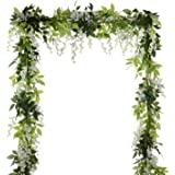 4Pcs 6.6Ft/Piece Artificial Flowers Silk Wisteria Garland Artificial Wisteria Vine Rattan Silk Hanging Flower for Home…