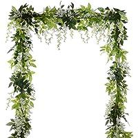 4Pcs 6.6Ft/Piece Artificial Flowers Silk Wisteria Garland Artificial Wisteria Vine Rattan Silk Hanging Flower for Home…