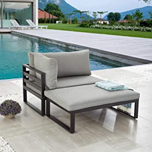 LOKATSE HOME 2 Pieces Outdoor Sectional Furniture Patio Conversation Set Steel Corner Sofa with Cushion, Grey