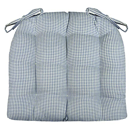 Barnett Products Dining Chair Pad With Ties   Blue Madrid Gingham Check    Standard Size