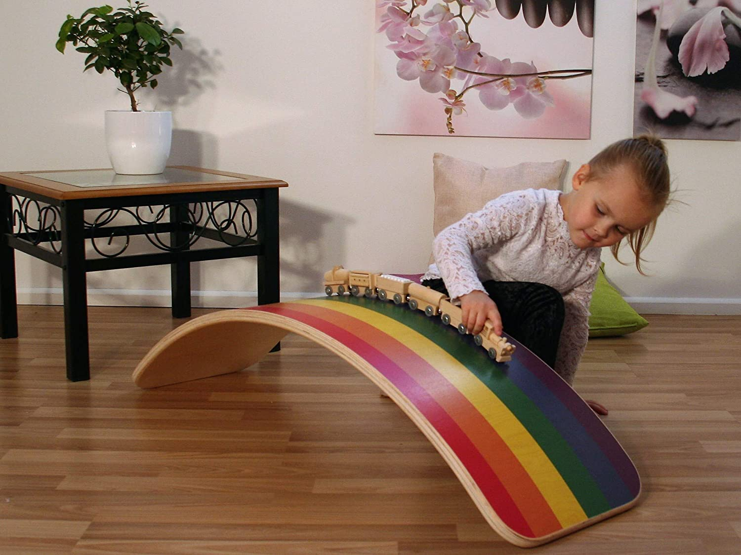 KateHaa Large Rainbow Balance Board Rockyboard Montessori toy Wooden toy Baby cradle Curvy board Kids toy Wooden board Wooden curvy board Waldorf board