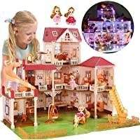 """CUTE STONE 8 Rooms Huge Dollhouse with 2 Dolls and Colorful Light, 32"""" x 25"""" x 26.6"""" Dream House Doll House Dreamhouse…"""