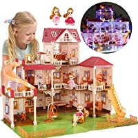 CUTE STONE Flashing Colorful Light Dollhouse Dream House Includes 2 Dolls, 26.3