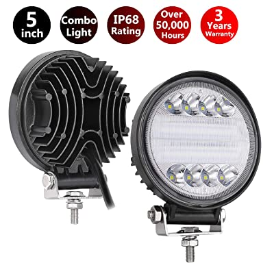 LED Pods, Moso LED 5 inch Round LED Light Pod Off Road Light Bar LED Fog light Work Light Waterproof Driving Light for Jeep Truck ATV UTV: Automotive