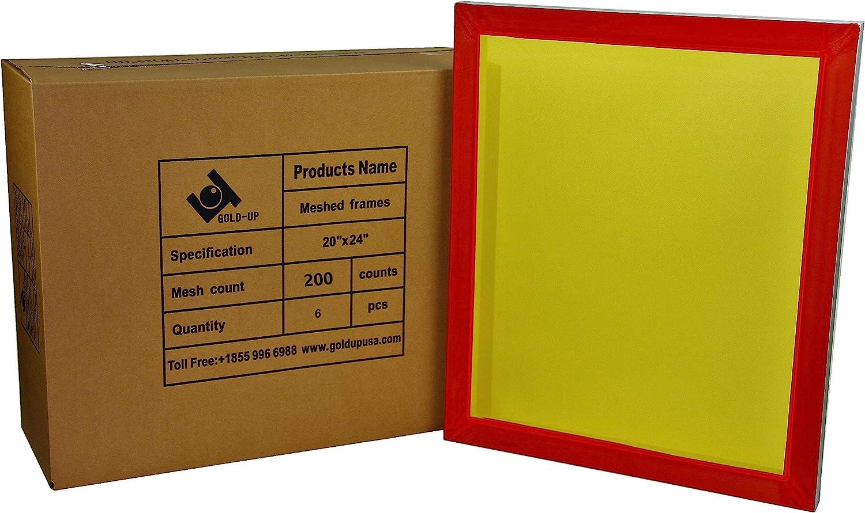 6 Packs 20 x 24 Aluminum Silk Printing Screens Pre-Stretch Meshed Aluminum Frame 200 Yellow Mesh