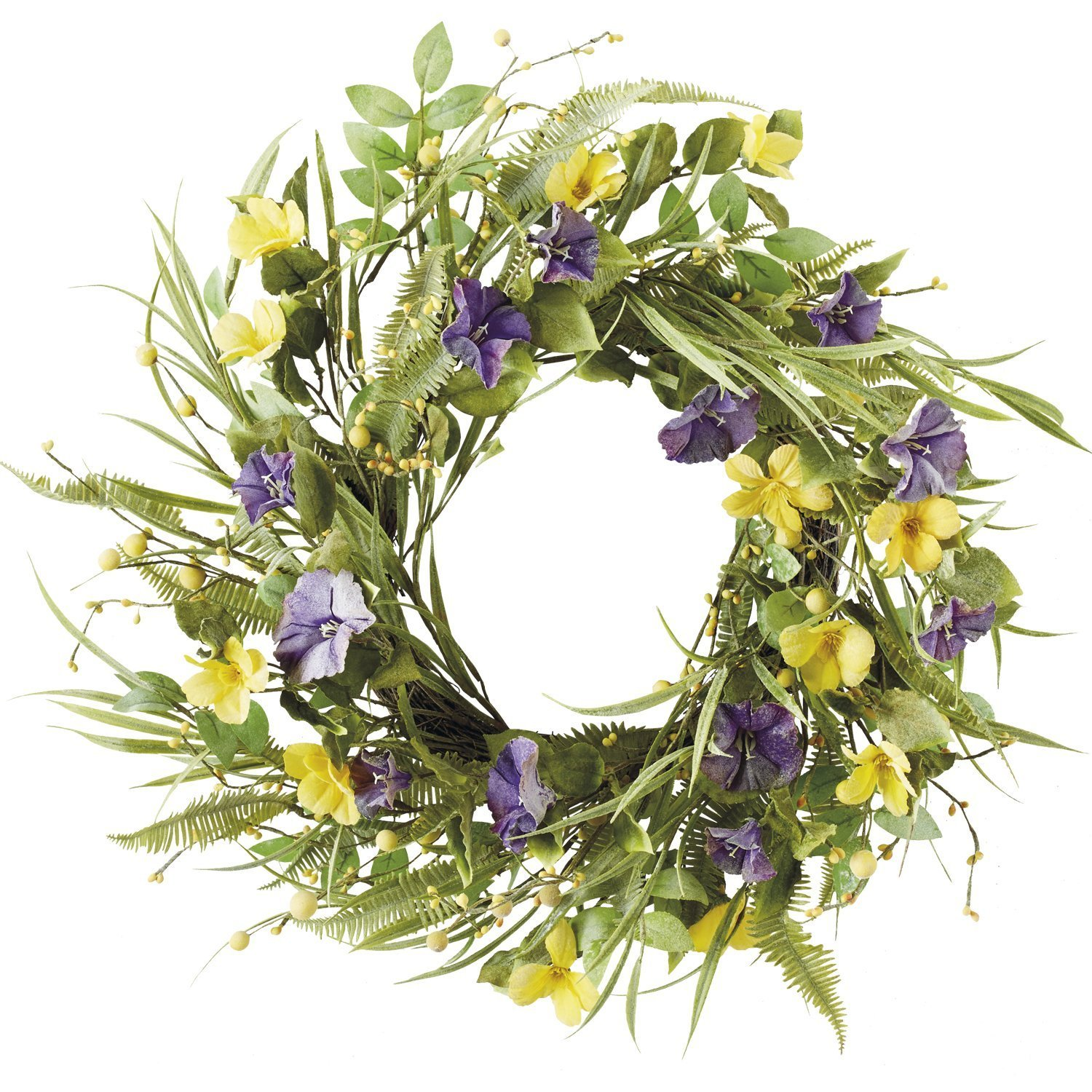 DII Decorative Leaves & Flowers 20'' Spring Wreath for Front Door or Indoor Wall Décor to Celebrate Easter & Spring/Summer Season
