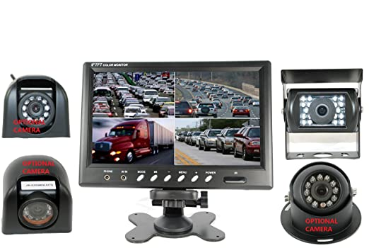 Amazon 4Ucam 9 Quad View Split Screen Monitor CCD Wired Camera For RV Trailer Motor Home 5th Wheels And Trucks Backup Or Rear Right