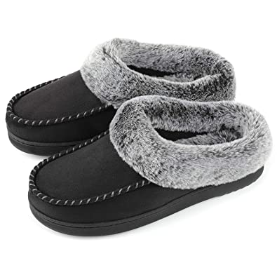 edbac8c3d43b ULTRAIDEAS Women s Cozy Memory Foam Moccasin Suede Slippers with Fuzzy  Plush Faux Fur Lining