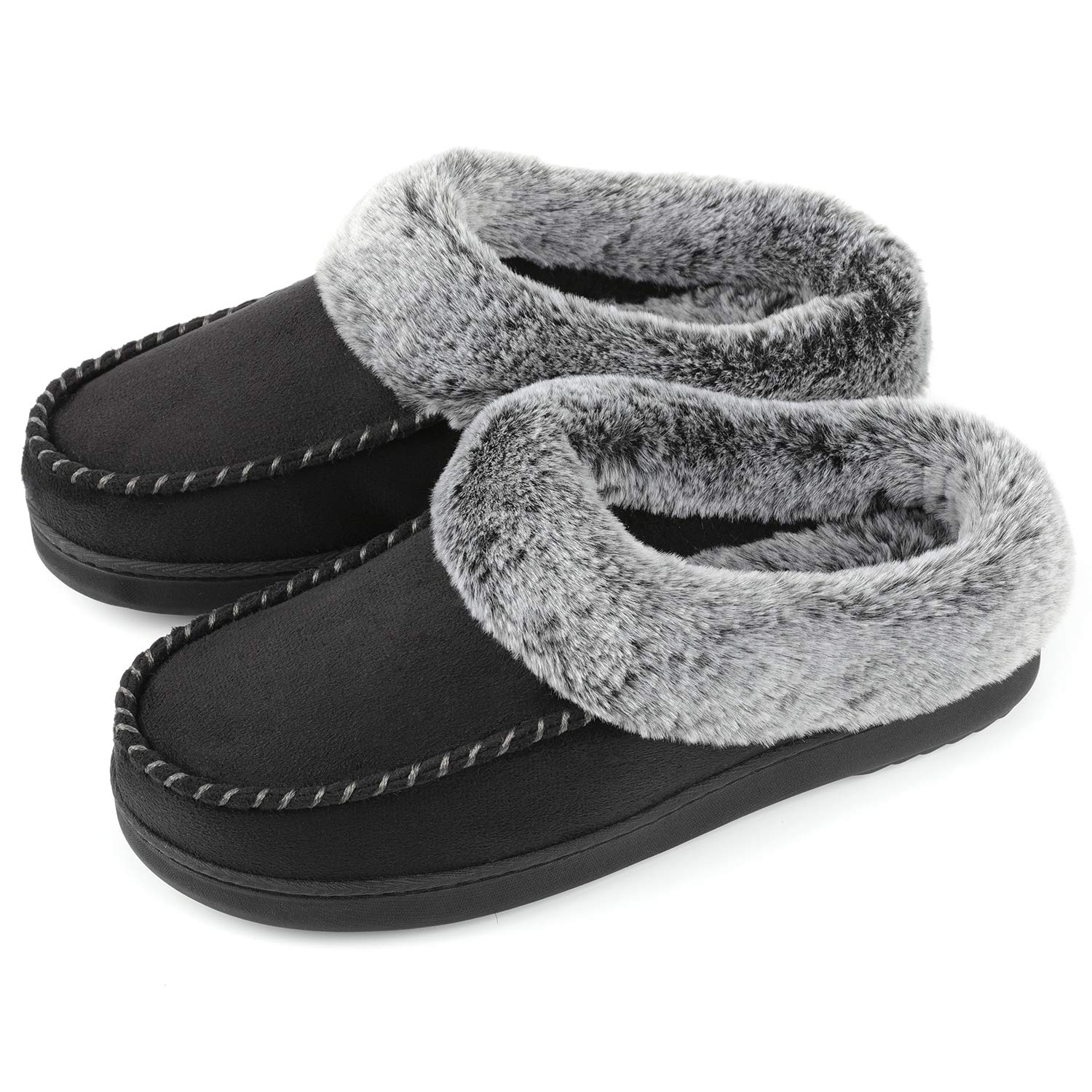 ULTRAIDEAS Women's Cozy Memory Foam Moccasin Suede Slippers with Fuzzy Plush Faux Fur Lining, Ladies' Slip on Mules Clogs House Shoes with Indoor Outdoor Anti-Skid Rubber Sole Black