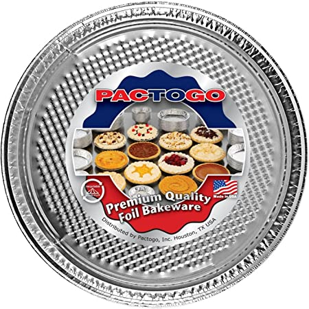 Pactogo 12 Round Aluminum Foil Pizza Pan – Disposable Waffle Bottom Baking Sheets Made in USA Pack of 25