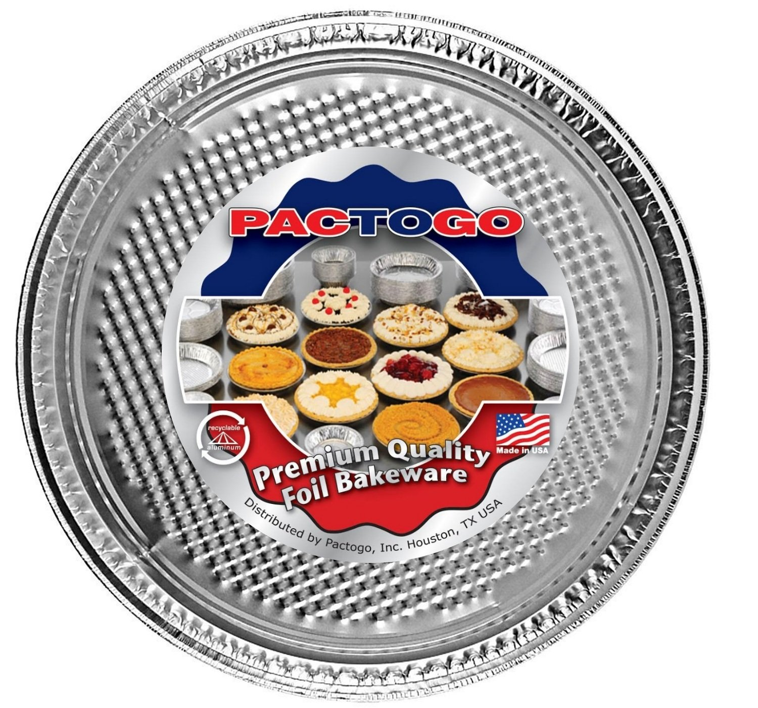 Pactogo 12'' Round Aluminum Foil Pizza Pan - Disposable Waffle Bottom Baking Sheets Made in USA (Pack of 25)