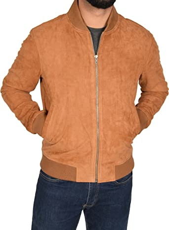 Mens Classic Fit Baseball Soft Lightweight Goat Suede Bomber Jacket Red