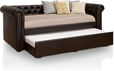 HOMES: Inside + Out IDF-1027BR Contemporary Daybed with Trundle, Twin, Brown