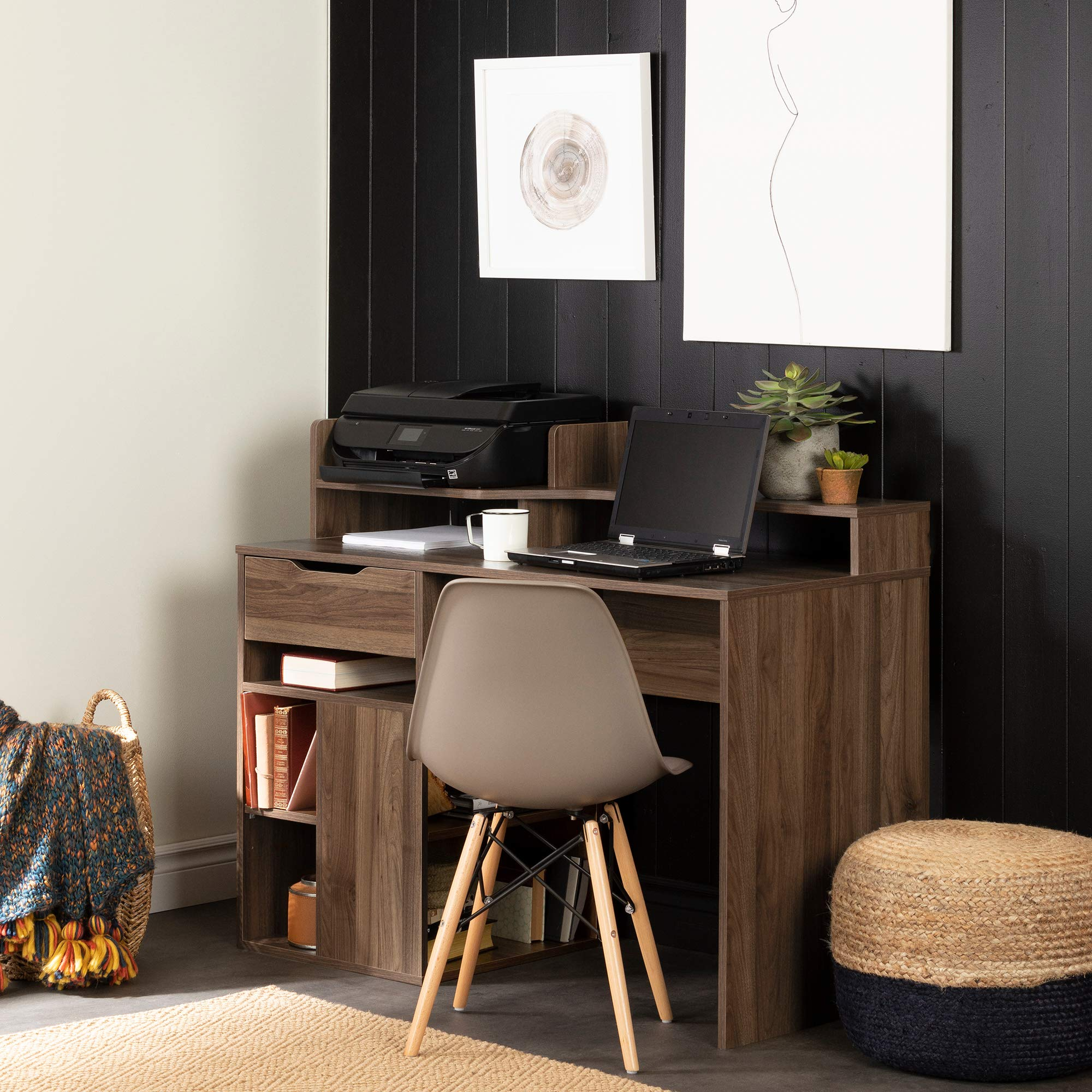 South Shore 12224 Holland Desk with Hutch and Storage, Natural Walnut by South Shore