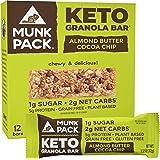 Munk Pack: Keto Granola Bar - Almond Butter Cocoa Chip - 1g Sugar, 2g Net Carbs - 12 Pack - Gluten-Free Keto Snacks - Plant B