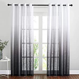 NICETOWN Semi Sheer Curtains 84 inch Length for Living Room, Grommet White & Black Ombre Curtains Linen Blend Privacy Vertical Drapes Window Treatments for Hall/Villa, 100